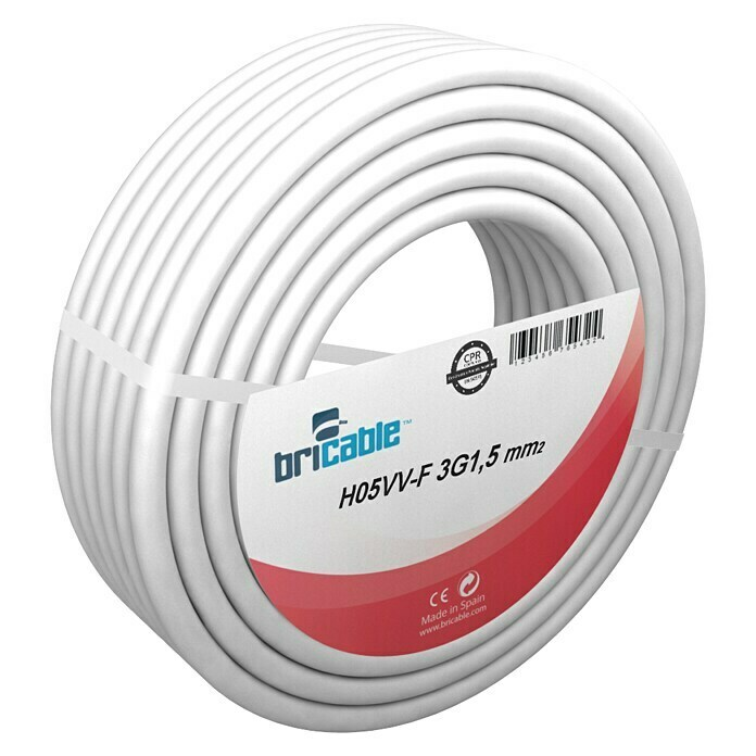 Bricable Cable eléctrico H05VV-F3G1,5 (H05VV-F3G1,5, 50 m, Blanco)