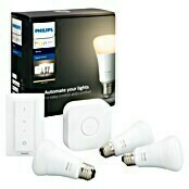 Philips Hue LED-Leuchtmittel-Set Starter-Kit (E27, 9 W, Lichtfarbe: Warmweiß, Dimmbar)