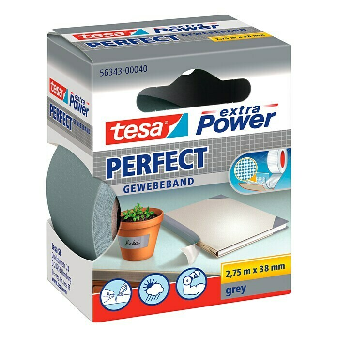 tesa Extra Power Gewebeband PERFECT (Grau, 2,75 m x 38 mm)