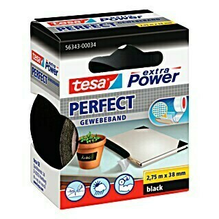 tesa Extra Power Gewebeband PERFECT (Schwarz, 2,75 m x 38 mm)