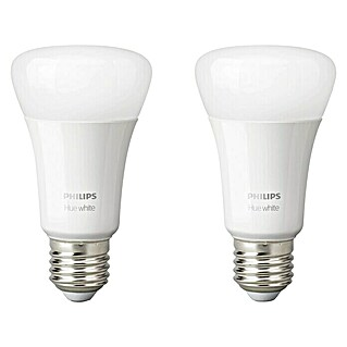 Philips Hue LED-Leuchtmittel-Set White (E27, 9 W, Warmweiß, Dimmbar, 2 Stk.)(E27, 9 W, Warmweiß, Dimmbar, 2 Stk.)