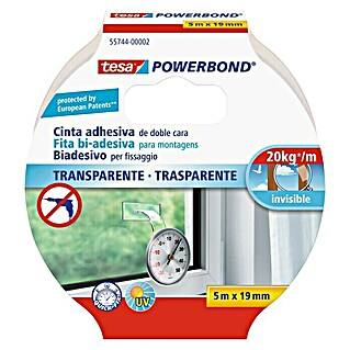 tesa Powerbond Cinta de doble cara Transparente (5 m x 19 mm)