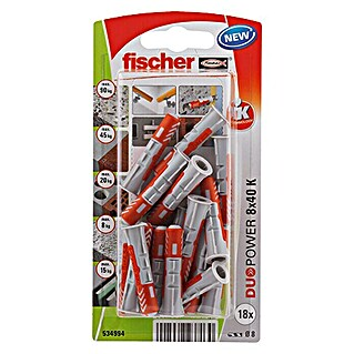 Fischer Duopower Set de tacos (Diámetro taco: 8 mm, Longitud taco: 40 mm, 18 uds., Nylon)