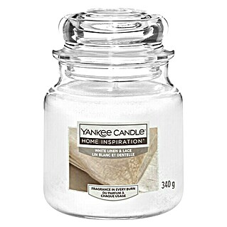 Yankee Candle Home Inspirations Duftkerze Classic (Im Glas, White Linen & Lace, Medium)