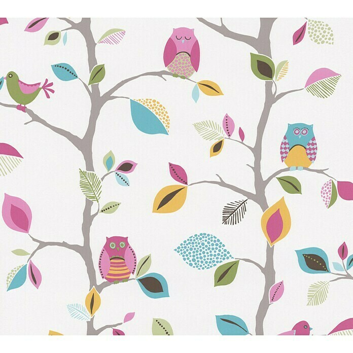 AS Creation Boys And Girls 6 Papiertapete Eule (Rosa, Motiv, 10,05 x 0,53 m) -
