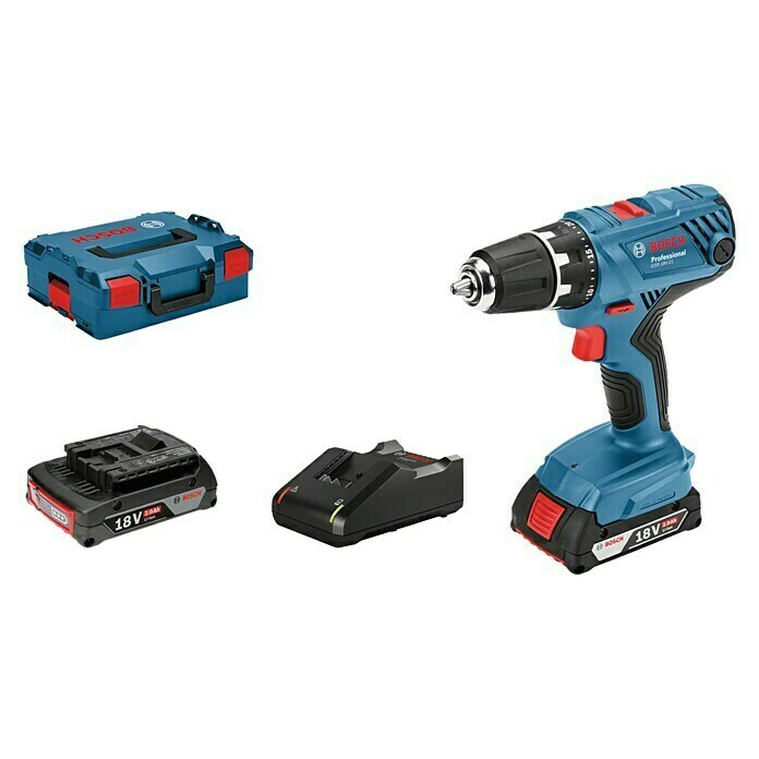 Bosch Professional Accuschroefboormachine (18 V, 2 accu's, 2 Ah, Onbelast toerental: 0 tpm - 1.800 tpm)