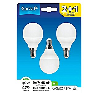 Garza Bombilla LED (3 uds., E14, 6 W, Color de luz: Blanco neutro, No regulable)(3 uds., E14, 6 W, Color de luz: Blanco neutro, No regulable)