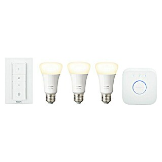 Philips Hue LED-Leuchtmittel-Set Starter-Kit (E27, 9 W, Lichtfarbe: Warmweiß, Dimmbar)(E27, 9 W, Lichtfarbe: Warmweiß, Dimmbar)