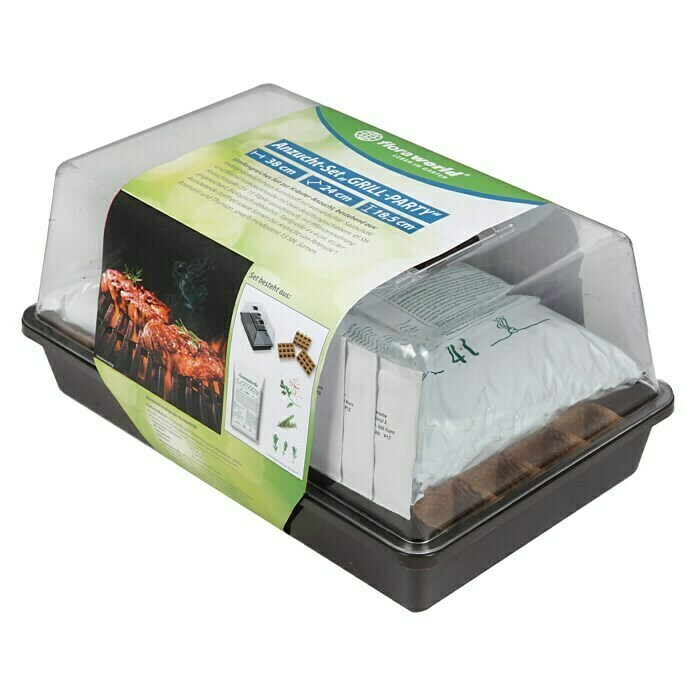 Floraworld Anzucht-Set Grill-Party (L x B x H: 38 x 24 x 18,5 cm, Schwarz) -