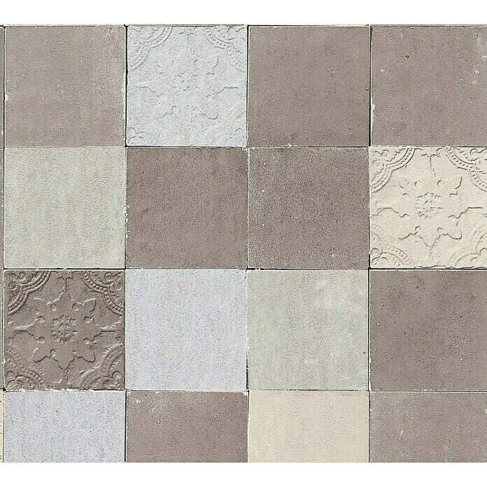 AS Creation New Walls Vliestapete Fliese (Creme/Grau, Fliesenoptik, 10,05 x 0,53 m) -