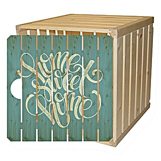 HolzZollhaus Holzkiste A 1/2 (35 x 35 x 32 cm, Home Sweet Home, Gehobelt)(35 x 35 x 32 cm, Home Sweet Home, Gehobelt)