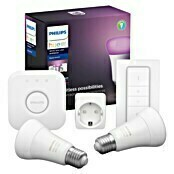 Philips Hue LED-Leuchtmittel-Set White & Color Ambiance (2 x LED-Leuchtmittel, 1 x Fernbedienung, 1 x Hue Bridge, 1 x Netzteil, 1 x Ethernet-Netzwerkkabel)