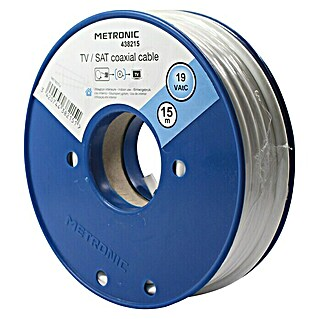 Metronic Cable coaxial TV / SAT (Largo: 15 m, Blanco)(Largo: 15 m, Blanco)