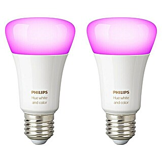 Philips Hue LED-Leuchtmittel-Set White & Color Ambiance (E27, 9 W, RGBW, Dimmbar, 2 Stk.)(E27, 9 W, RGBW, Dimmbar, 2 Stk.)