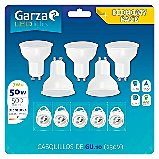 Garza Bombilla LED (5 uds., GU10, 7 W, Color de luz: Blanco neutro, No regulable)(5 uds., GU10, 7 W, Color de luz: Blanco neutro, No regulable)