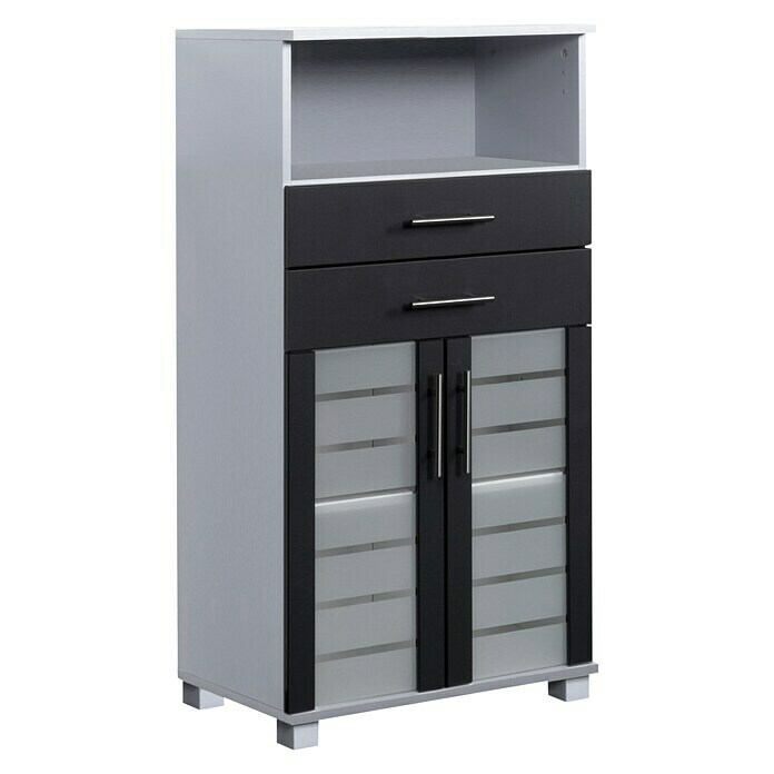 Schildmeyer Niko Highboard (32,6 x 60 x 110,5 cm, Silber/Anthrazit)