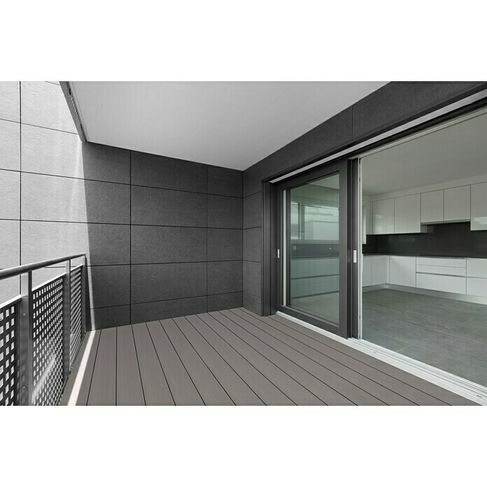 WPC-Terrassendiele Light Grey (Hellgrau, 300 x 19 x 1,6 cm)