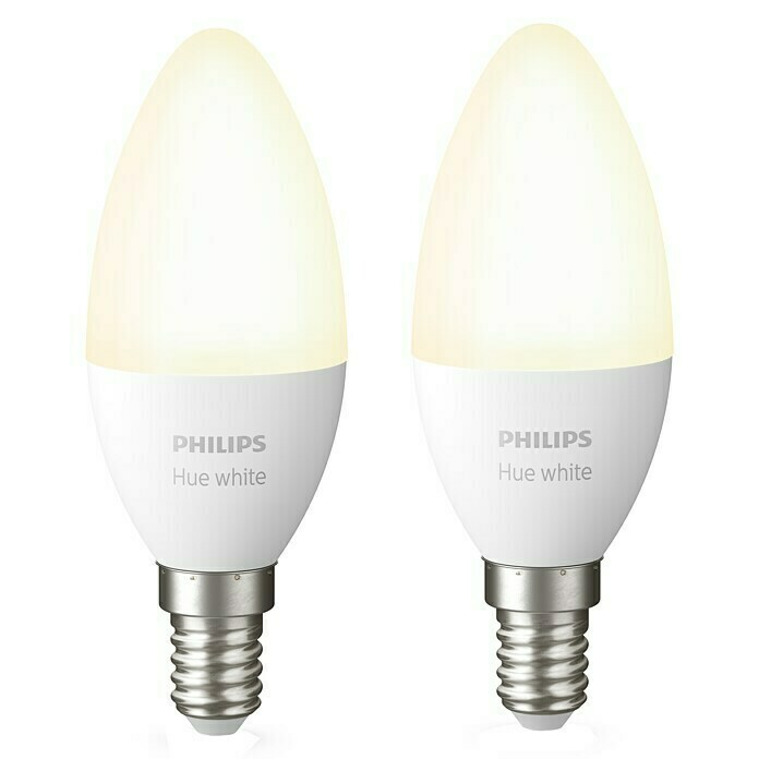 Philips Hue Ledlamp White (E14, 5,5 W, Warm wit, Dimbaar, 2 stk.)