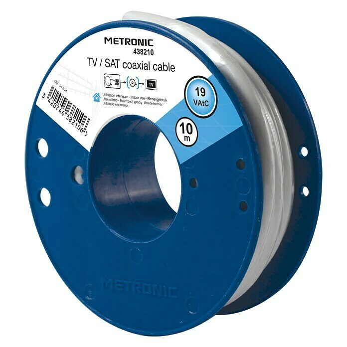 Metronic Cable coaxial TV / SAT (Largo: 10 m, Blanco)