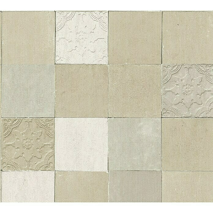 AS Creation New Walls Vliestapete Fliese (Beige, Fliesenoptik, 10,05 x 0,53 m) -