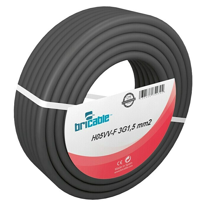 Bricable Cable eléctrico H05VV-F3G1,5 (H05VV-F3G1,5, 10 m, Negro)