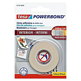 tesa Powerbond Cinta de doble cara Indoor (1,5 m x 19 mm)