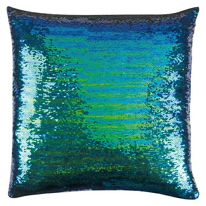 FREUNDIN HOME COLLECTION Paradise Kissen (Pailletten, Blau/Grün, 45 x 45 cm, 100 % Polyester) -