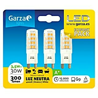 Garza Bombilla LED (3 uds., G9, 3,5 W, Color de luz: Blanco neutro, No regulable)(3 uds., G9, 3,5 W, Color de luz: Blanco neutro, No regulable)