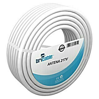 Bricable Cable coaxial antena 21TV (25 m, Blanco, Diámetro: 7 mm)(25 m, Blanco, Diámetro: 7 mm)
