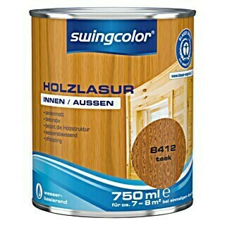 swingcolor Holzlasur (Teak, 750 ml, Seidenmatt)