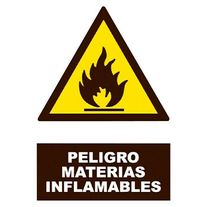 Cartel (Amarillo / negro, Material inflamable)