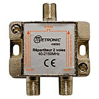 Metronic Distribuidor F 1 In 2 Out (x 2, Tipo de conexión: Conector F, Frecuencia: 40 - 2.150 MHz)(x 2, Tipo de conexión: Conector F, Frecuencia: 40 - 2.150 MHz)