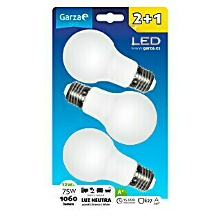 Garza Bombilla LED (3 uds., E27, 12 W, Color de luz: Blanco neutro, No regulable)
