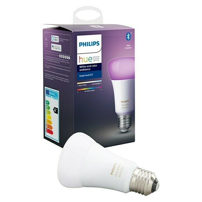 Philips Hue Bombilla LED (E27, 9 W, RGBW, Intensidad regulable, 1 ud.)