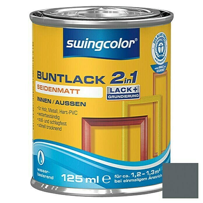 swingcolor 2in1 Buntlack (Anthrazitgrau, 125 ml, Seidenmatt)