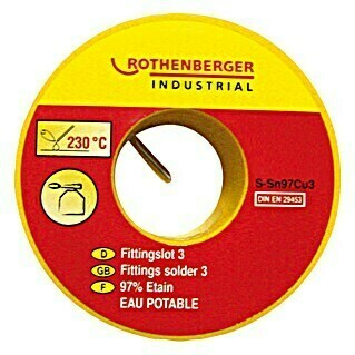 Rothenberger Industrial Soldadura de racor 3 Sn97Cu3 (Diámetro: 3 mm, 100 g)(Diámetro: 3 mm, 100 g)