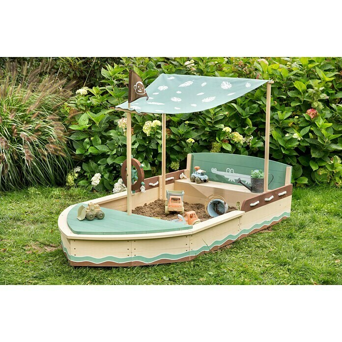Muddy Buddy Sandkasten Jungle King (L x B x H: 195 x 110 x 120 cm, Holz)