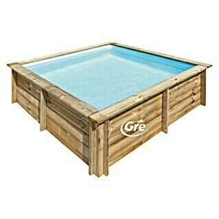 Gre Piscina de madera City (L x An x Al: 225 x 225 x 68 cm, 2,3, Natural)(L x An x Al: 225 x 225 x 68 cm, 2,3, Natural)