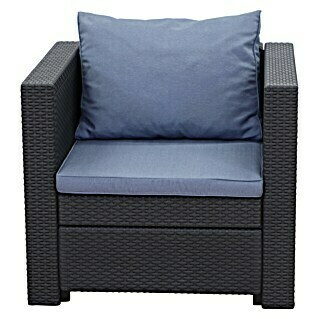 Keter Loungesessel Provence (Polyrattan, Anthrazit/Blau)(Polyrattan, Anthrazit/Blau)