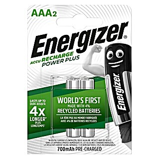 Energizer Rechargeable PowerPlus Batería (Micro AAA, 1,2 V, 2 uds.)(Micro AAA, 1,2 V, 2 uds.)