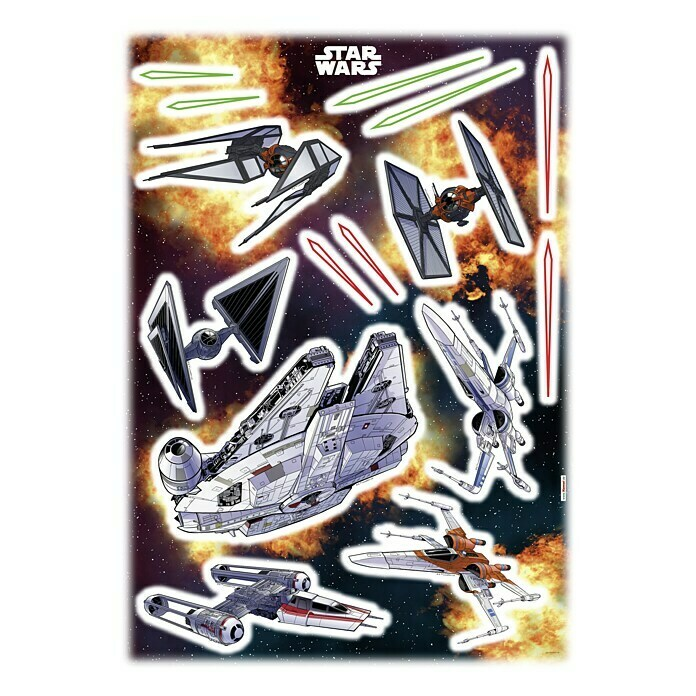 Komar Star Wars Dekosticker Spaceship (15-tlg., Bunt)