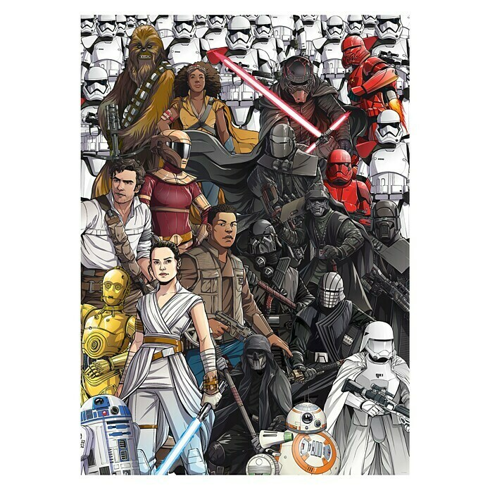 Komar Star Wars Fototapete Retro Cartoon (4-tlg., 200 x 280 cm, Vlies) -