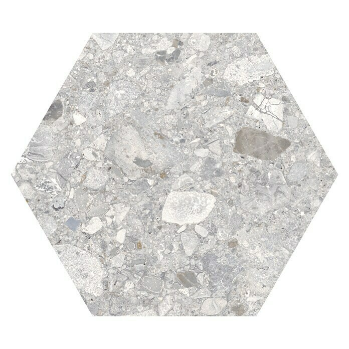 Feinsteinzeugfliese Hexagon Iseo Light (25 x 22 cm, Grau, Glasiert)