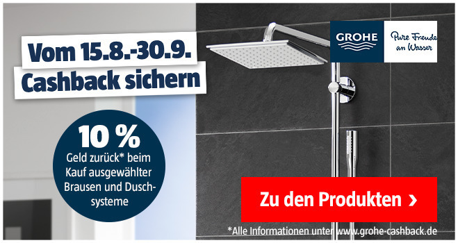 Grohe Chashbackaktion 15.08. bis 30.09.2020