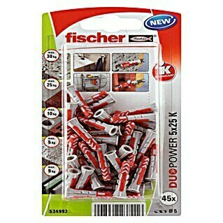 Fischer Duopower Set vijaka s tiplama (Promjer tiple: 5 mm, Duljina tiple: 25 mm, 45 kom, Najlon)