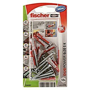 Fischer Duopower Set vijaka s tiplama (Promjer tiple: 6 mm, Duljina tiple: 30 mm, 12 kom)