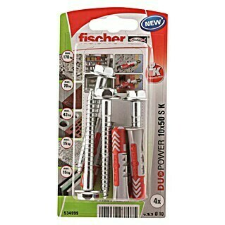 Fischer Duopower Set vijaka s tiplama (Promjer tiple: 10 mm, Duljina tiple: 50 mm, 4 kom)