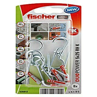 Fischer Duopower Set tipli (Promjer tiple: 5 mm, Duljina tiple: 25 mm, Okrugla kuka, 8 kom)