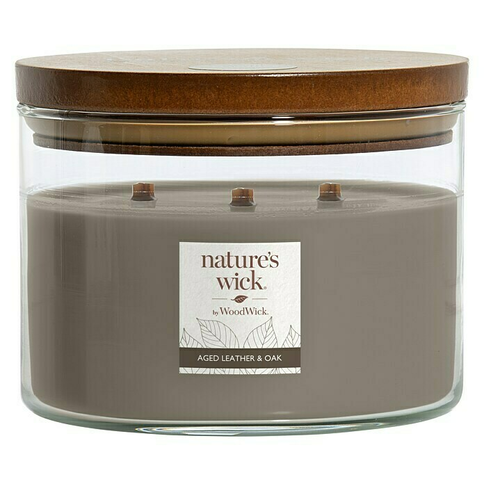 Woodwick Nature's Wick Duftkerze (Im Glas, Leather Oak, Anzahl Dochte: 3 Stk.) -