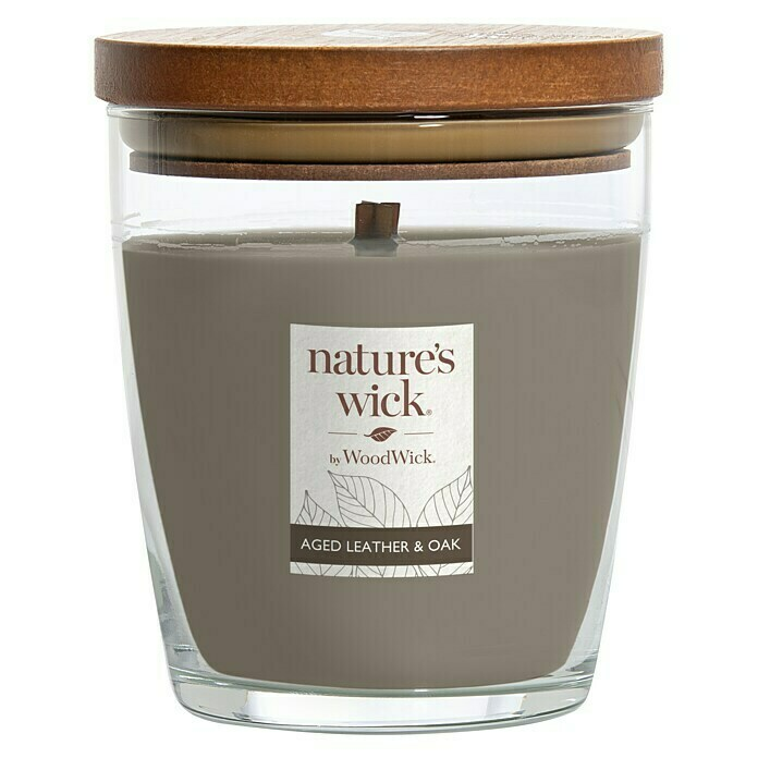 Woodwick Nature's Wick Duftkerze (Im Glas, Leather Oak, Anzahl Dochte: 1 Stk.) -